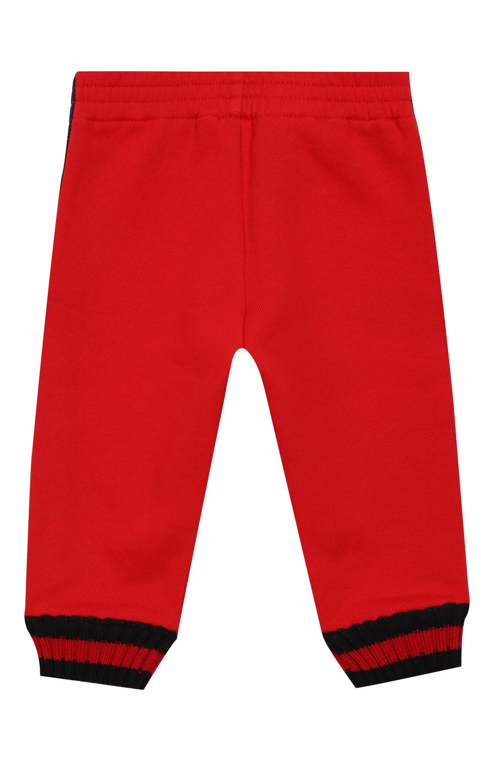Детские хлопковые джоггеры с лампасами GUCCI красного цвета, арт. 497807/X9L52   Фото 2