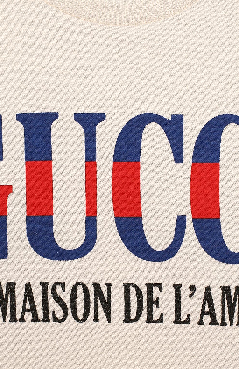 Детский хлопковая футболка с надписью GUCCI белого цвета, арт. 526659/X3074 | Фото 3