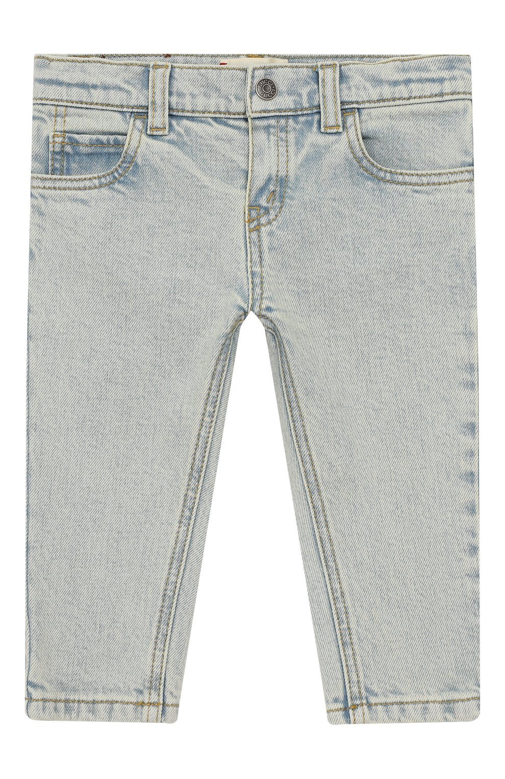 Детские джинсы с декоративными потертостями GUCCI голубого цвета, арт. 540362/XDAC8   Фото 1