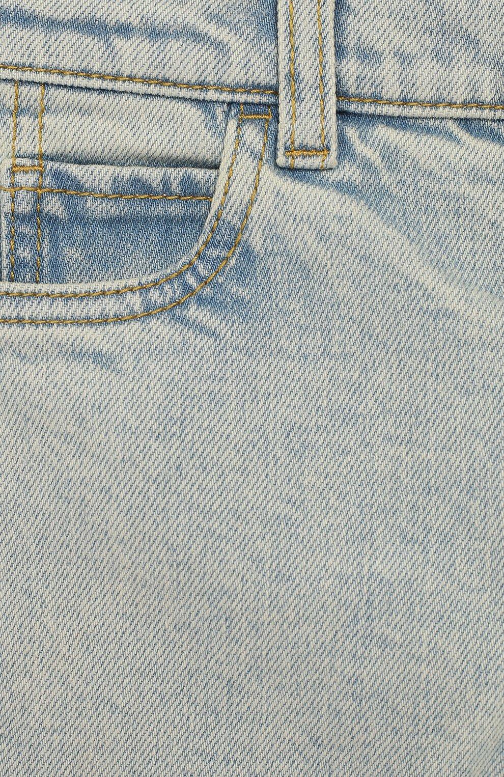 Детские джинсы с декоративными потертостями GUCCI голубого цвета, арт. 540362/XDAC8   Фото 3
