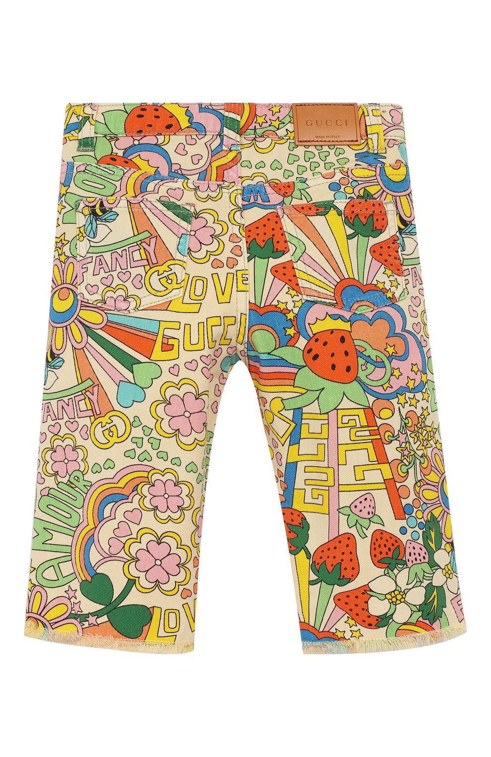 Детские джинсы прямого кроя GUCCI разноцветного цвета, арт. 552352/XDAGM   Фото 2