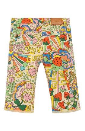 Детские джинсы прямого кроя GUCCI разноцветного цвета, арт. 552352/XDAGM | Фото 2