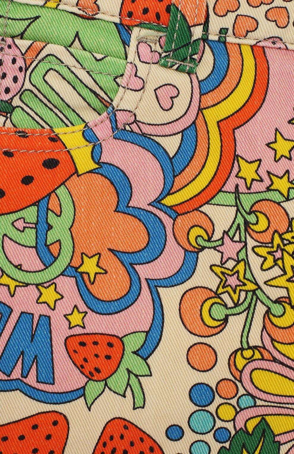 Детские джинсы прямого кроя GUCCI разноцветного цвета, арт. 552352/XDAGM | Фото 3