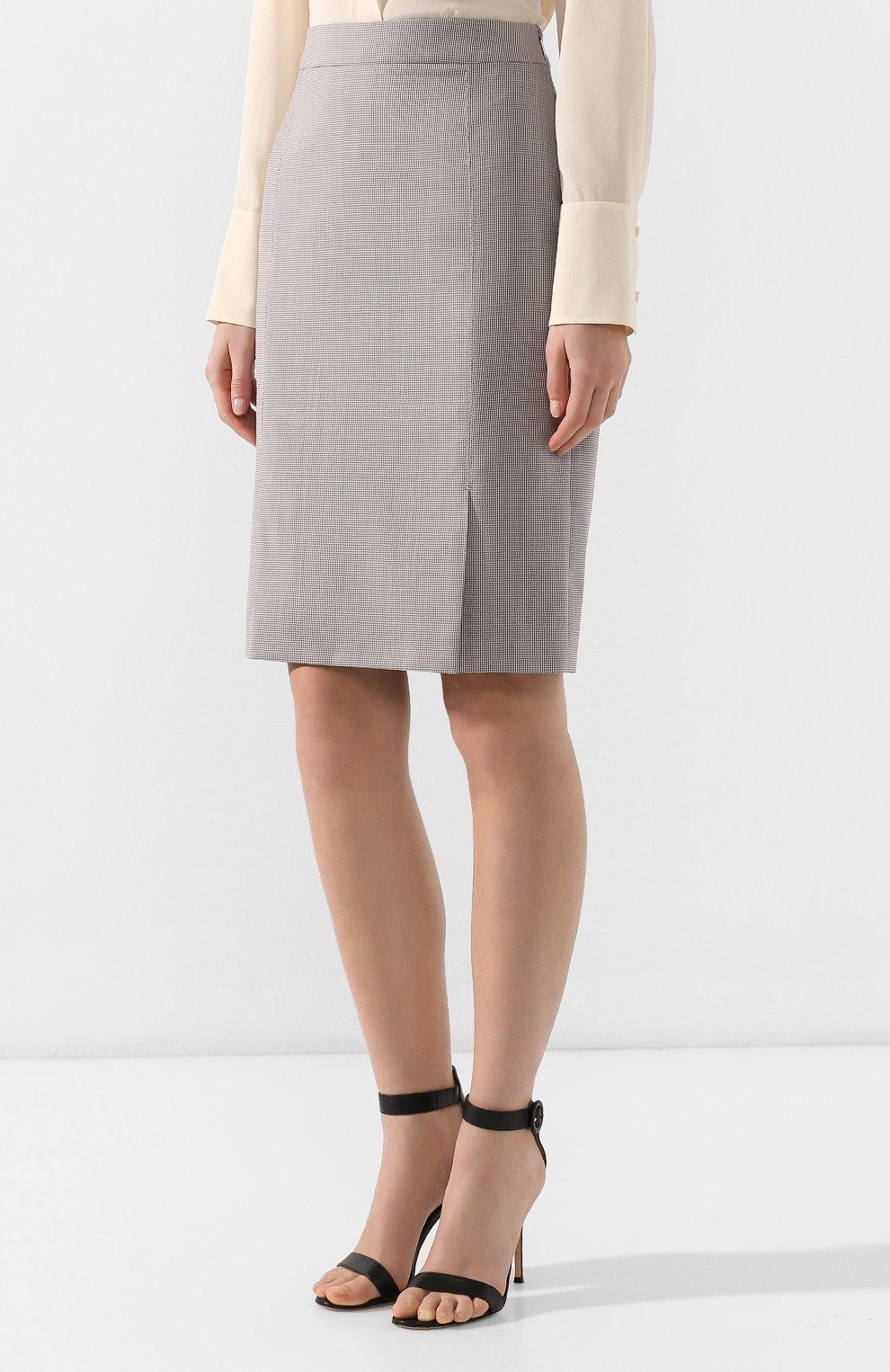 Женская шерстяная юбка BOSS разноцветного цвета, арт. 50404821 | Фото 3