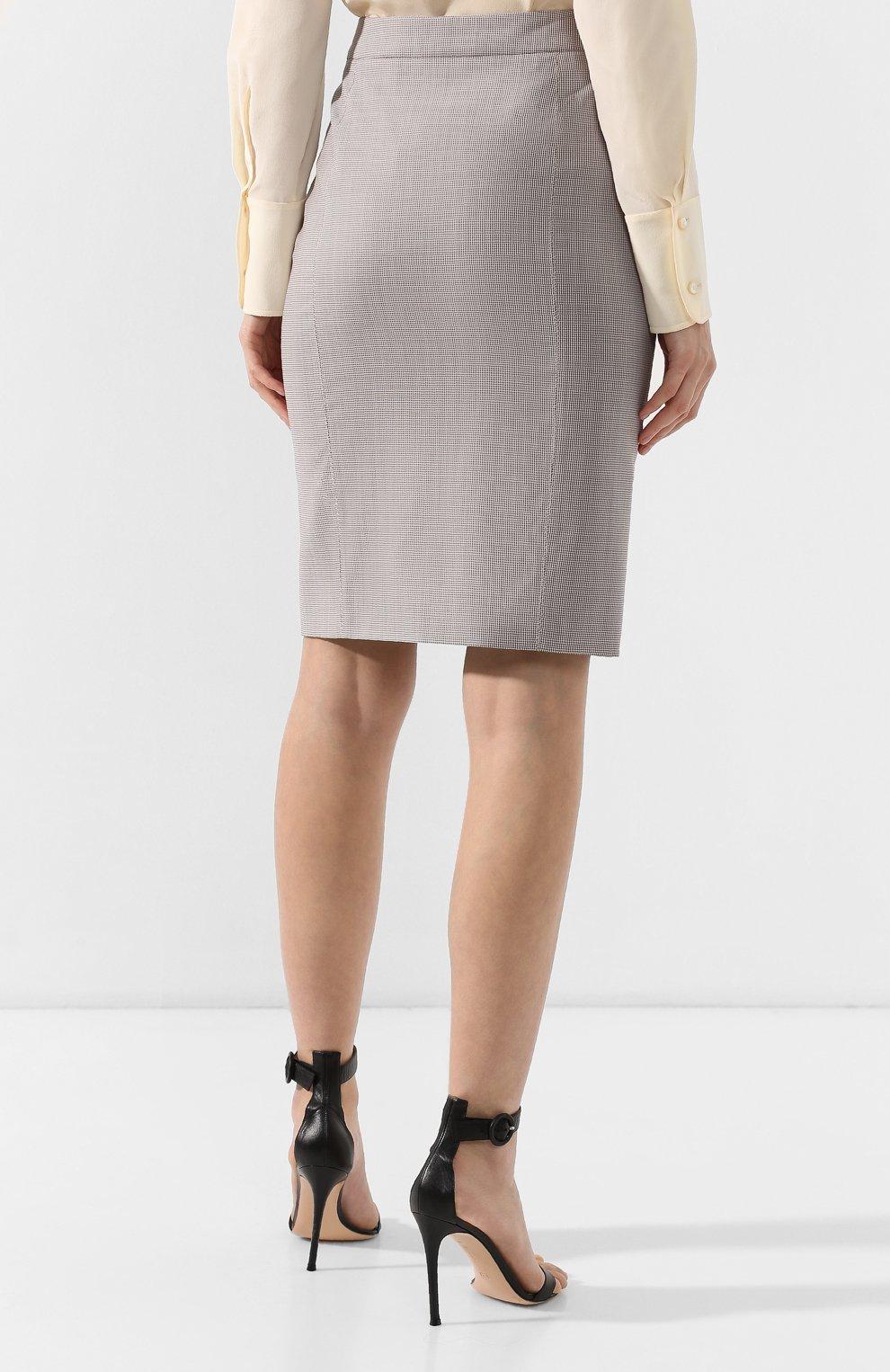 Женская шерстяная юбка BOSS разноцветного цвета, арт. 50404821 | Фото 4