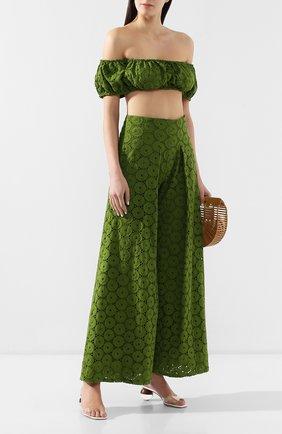 Женские хлопковые брюки CULT GAIA зеленого цвета, арт. 52009EY LEA   Фото 2 (Длина (брюки, джинсы): Стандартные; Статус проверки: Проверена категория; Материал внешний: Хлопок; Женское Кросс-КТ: Брюки-одежда)