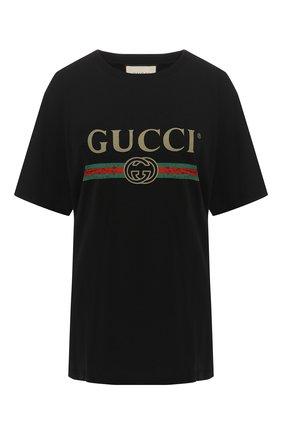 Женская хлопковая футболка GUCCI черного цвета, арт. 457095/X5L89   Фото 1