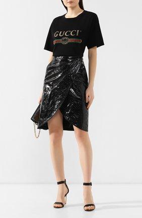 Женская хлопковая футболка GUCCI черного цвета, арт. 457095/X5L89   Фото 2