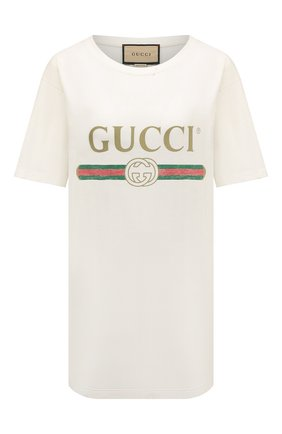 Женская хлопковая футболка GUCCI белого цвета, арт. 457095/X5L89 | Фото 1