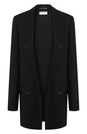 Женский шерстяной жакет SAINT LAURENT черного цвета, арт. 552517/Y221W | Фото 1
