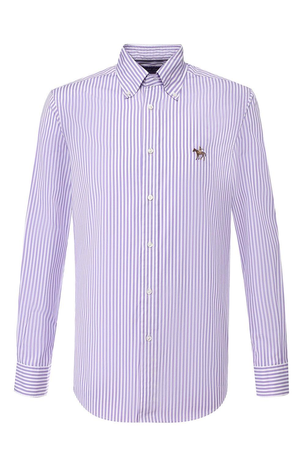 Мужская хлопковая сорочка с воротником button down RALPH LAUREN фиолетового цвета, арт. 790730896 | Фото 1