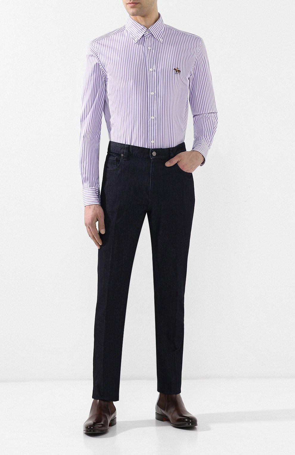 Мужская хлопковая сорочка с воротником button down RALPH LAUREN фиолетового цвета, арт. 790730896 | Фото 2