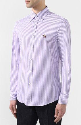 Мужская хлопковая сорочка с воротником button down RALPH LAUREN фиолетового цвета, арт. 790730896 | Фото 3