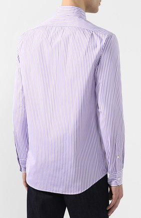 Мужская хлопковая сорочка с воротником button down RALPH LAUREN фиолетового цвета, арт. 790730896 | Фото 4