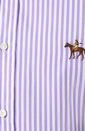 Мужская хлопковая сорочка с воротником button down RALPH LAUREN фиолетового цвета, арт. 790730896 | Фото 5