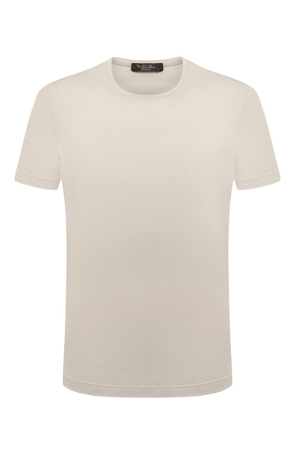 Мужская футболка из шелка и хлопка LORO PIANA светло-серого цвета, арт. FAF6128 | Фото 1