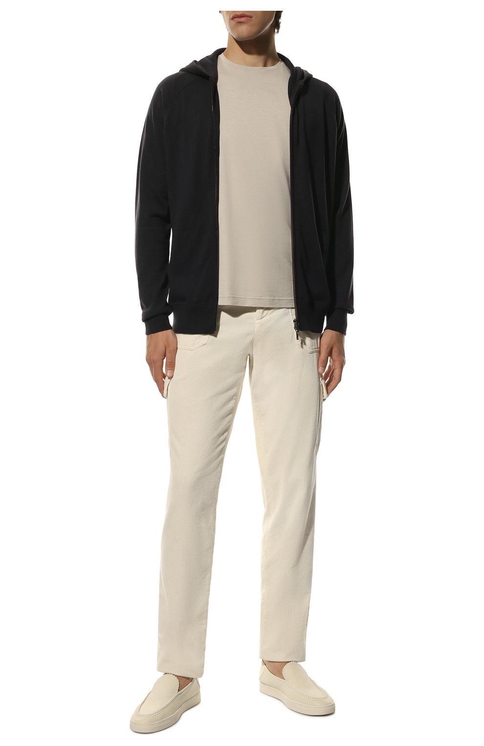 Мужская футболка из шелка и хлопка LORO PIANA светло-серого цвета, арт. FAF6128 | Фото 2
