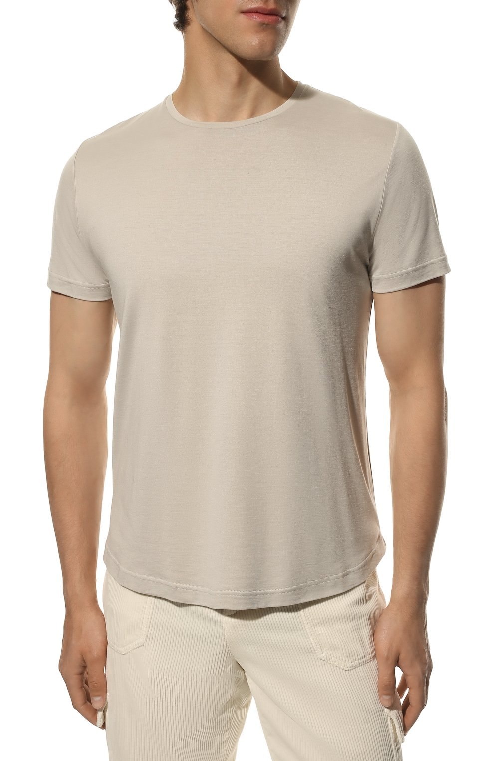 Мужская футболка из шелка и хлопка LORO PIANA светло-серого цвета, арт. FAF6128 | Фото 3