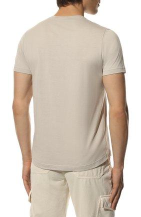 Мужская футболка из шелка и хлопка LORO PIANA светло-серого цвета, арт. FAF6128 | Фото 4