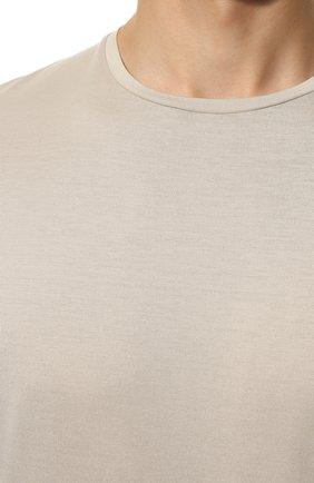Мужская футболка из шелка и хлопка LORO PIANA светло-серого цвета, арт. FAF6128 | Фото 5