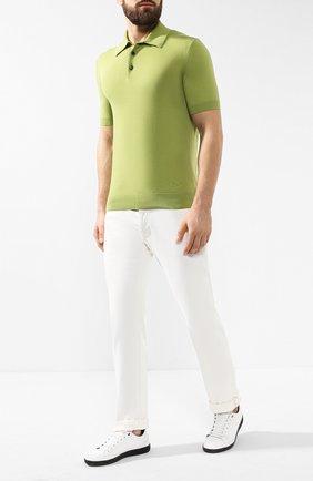 Мужское хлопковое поло  ERMENEGILDO ZEGNA зеленого цвета, арт. USC90/C32   Фото 2