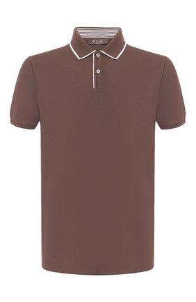 Мужское хлопковое поло  LORO PIANA коричневого цвета, арт. FAI4903 | Фото 1