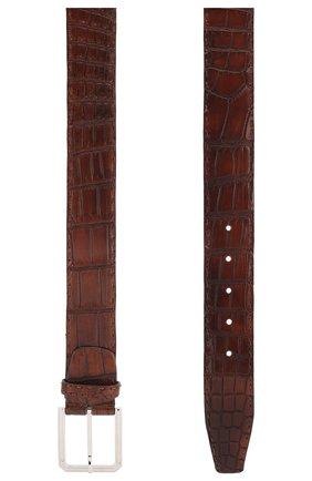 Мужской ремень из кожи крокодила KITON коричневого цвета, арт. USC23PN00102/CNIL | Фото 2