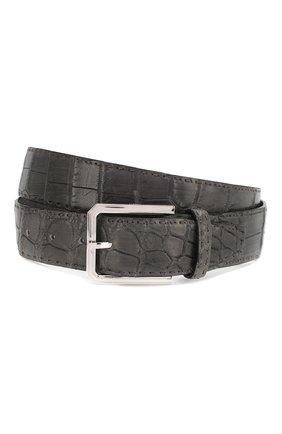 Мужской ремень из кожи крокодила KITON темно-серого цвета, арт. USC23PN00102/CNIL | Фото 1