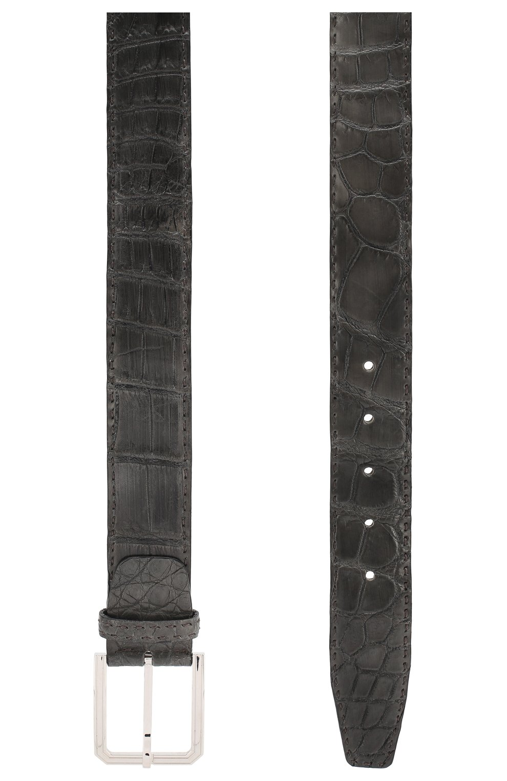 Ремень из кожи крокодила Kiton темно-серый | Фото №2