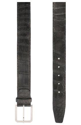 Мужской ремень из кожи крокодила KITON темно-серого цвета, арт. USC23PN00102/CNIL | Фото 2