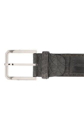 Ремень из кожи крокодила Kiton темно-серый | Фото №3