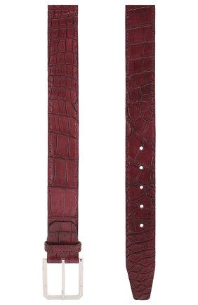 Мужской ремень из кожи крокодила KITON бордового цвета, арт. USC23PN00102/CNIL | Фото 2