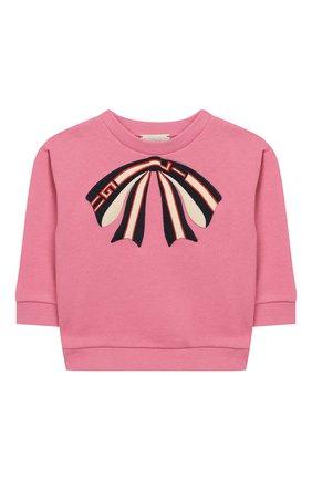 Детский хлопковый свитшот GUCCI розового цвета, арт. 518781/X9W08 | Фото 1