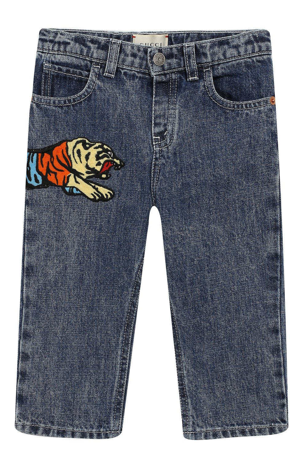 Детские джинсы прямого кроя GUCCI синего цвета, арт. 540112/XDADM | Фото 1