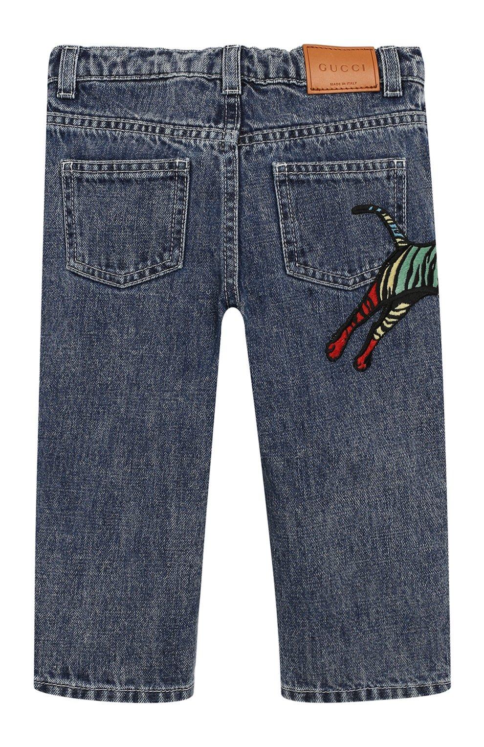 Детские джинсы прямого кроя GUCCI синего цвета, арт. 540112/XDADM | Фото 2