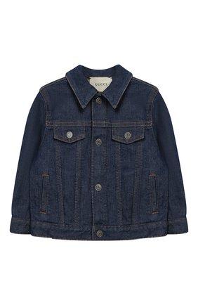 Детского джинсовая куртка GUCCI синего цвета, арт. 540363/XDAD0 | Фото 1