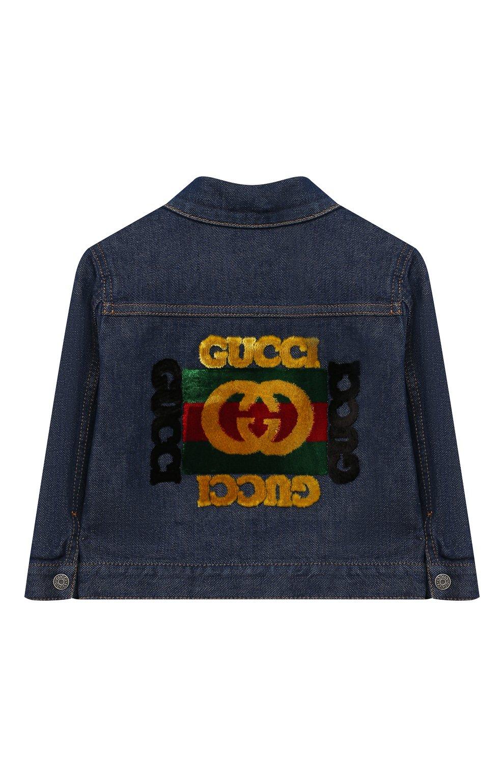 Детского джинсовая куртка GUCCI синего цвета, арт. 540363/XDAD0 | Фото 2