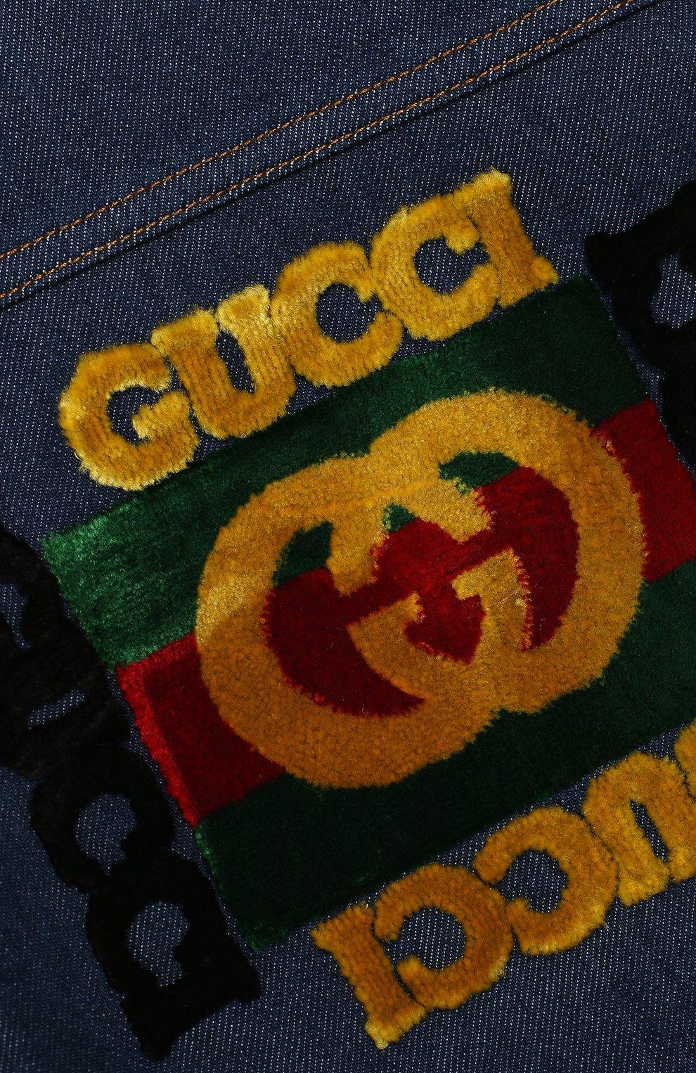 Детского джинсовая куртка GUCCI синего цвета, арт. 540363/XDAD0 | Фото 3