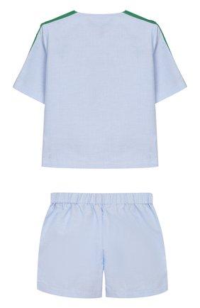 Детский комплект из хлопкового кардигана и шорт GUCCI голубого цвета, арт. 544808/XWABZ | Фото 2