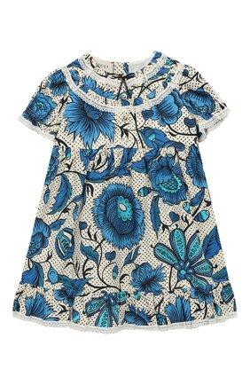 Женский хлопковое платье GUCCI синего цвета, арт. 551891/ZAAVK | Фото 1