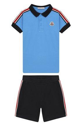 Детский комплект из хлопкового поло и шорт MONCLER ENFANT голубого цвета, арт. E1-951-88099-05-8496F | Фото 1