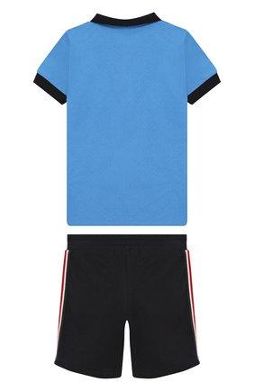 Детский комплект из хлопкового поло и шорт MONCLER ENFANT голубого цвета, арт. E1-951-88099-05-8496F | Фото 2