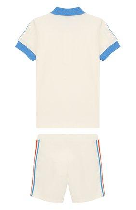 Детский комплект из хлопкового поло и шорт MONCLER ENFANT белого цвета, арт. E1-951-88128-05-8496F | Фото 2