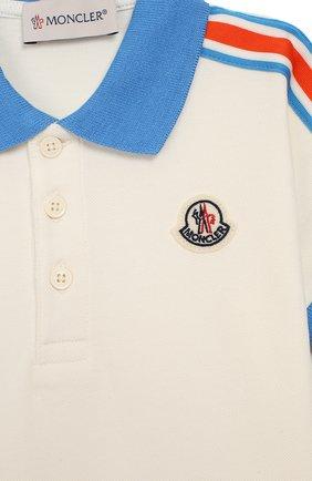 Детский комплект из хлопкового поло и шорт MONCLER ENFANT белого цвета, арт. E1-951-88128-05-8496F | Фото 3