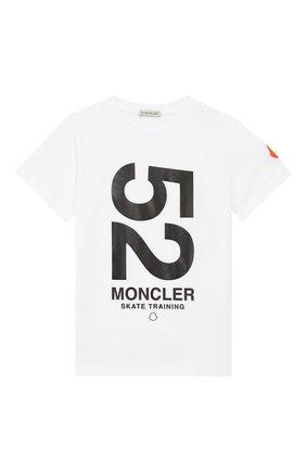 Детская хлопковая футболка MONCLER ENFANT белого цвета, арт. E1-954-80249-50-83907/8-10A | Фото 1