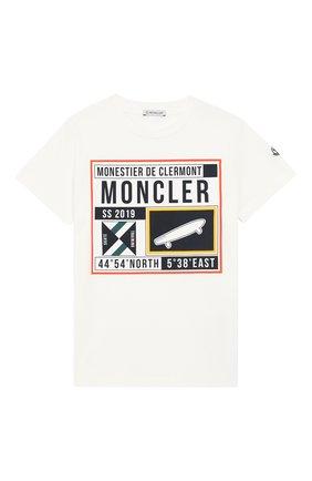 Детская хлопковая футболка MONCLER ENFANT белого цвета, арт. E1-954-80251-50-83907/8-10A | Фото 1
