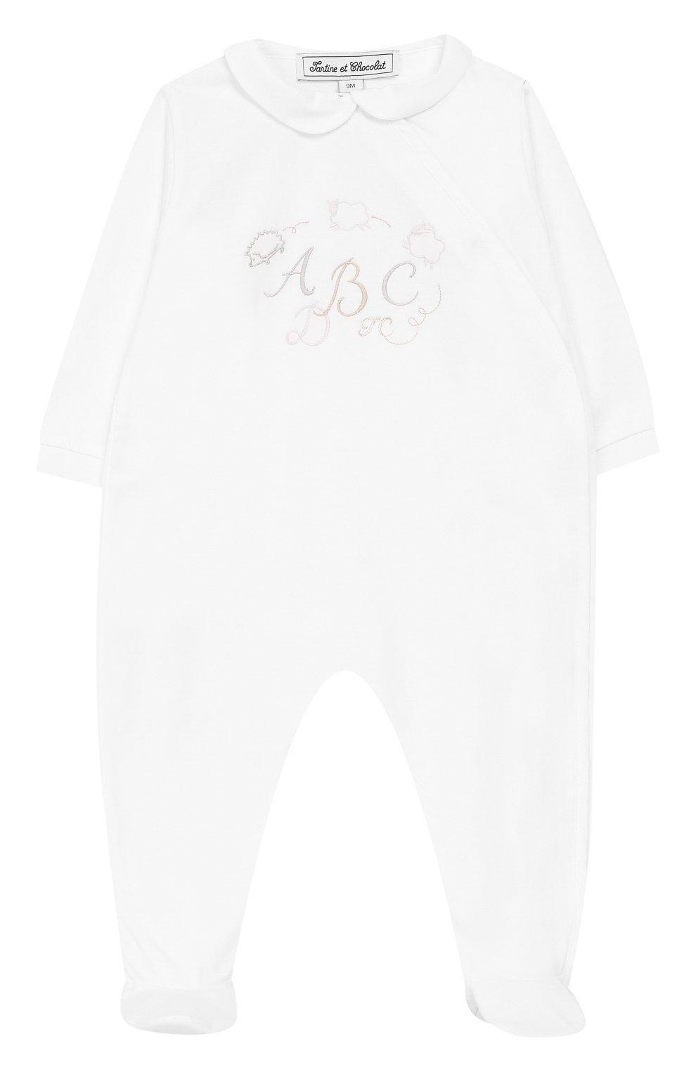 Детский хлопковый комбинезон TARTINE ET CHOCOLAT белого цвета, арт. TN54021 | Фото 1