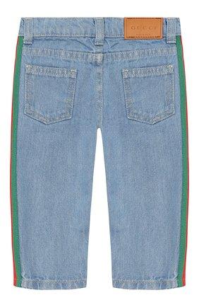 Детские джинсы с лампасами GUCCI голубого цвета, арт. 548223/XDAC4 | Фото 2
