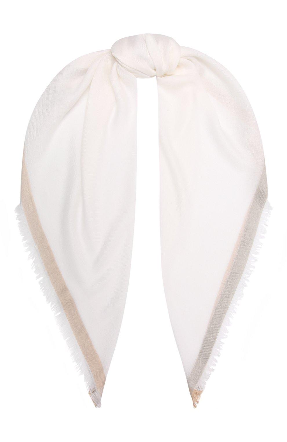 Женский платок quadrata rainbow из кашемира и шелка LORO PIANA белого цвета, арт. FAE7233 | Фото 1