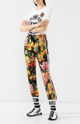 Женские текстильные кроссовки sorrento DOLCE & GABBANA черно-белого цвета, арт. CK1645/AZ708 | Фото 2